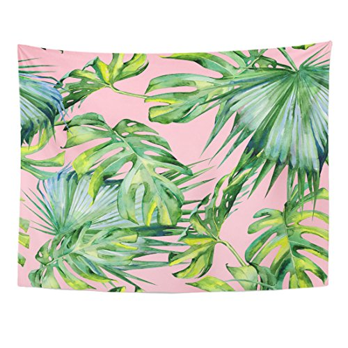 Green Tapestry Floral - TOMPOP Tapestry Pink Watercolor of Tropical Leaves Dense Jungle Hand Tropic Home Decor Wall Hanging for Living Room Bedroom Dorm 60x80 Inches