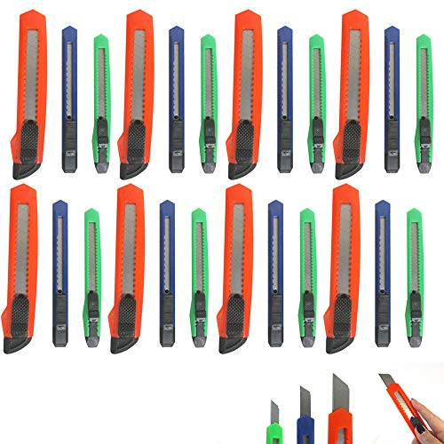 Lot of 24 Retractable Utility Knife Box Cutter Snap Off Razor Sharp Blade Tool