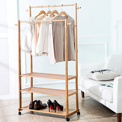 Bamboo Clothing Garment Rolling Display Rack, Closet Organizer with 2 Hanging Rods and 3 Storage Shelves