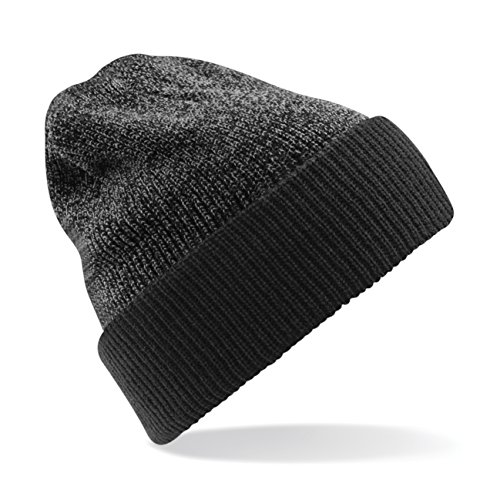 Beechfield Unisex Reversible Heritage Winter Beanie Hat (One Size) (Antique Grey/ Black)