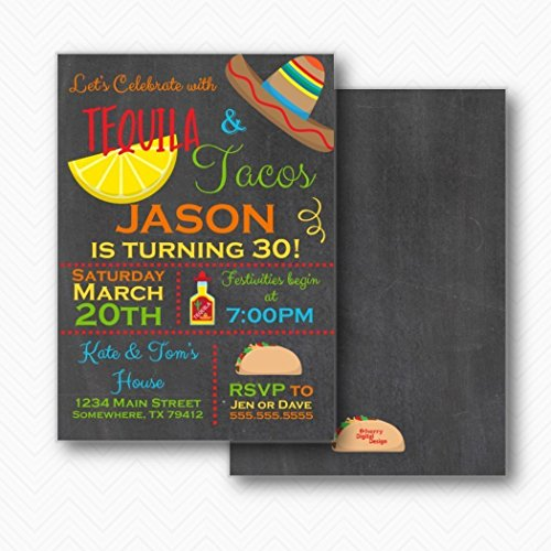 Tequila & Tacos Fiesta Birthday Party Invitations | Envelopes Included