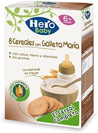 Hero Baby Papilla 8 Cereales Con Galleta Maria Sin Consevantes ni Azúcares Añadidos para Bebés 500 g: Amazon.es: Alimentación y bebidas