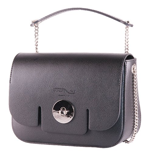 BORDERLINE - 100% Made in Italy - Bolso de la Mujer de cuero genuino - LUCIA Negro