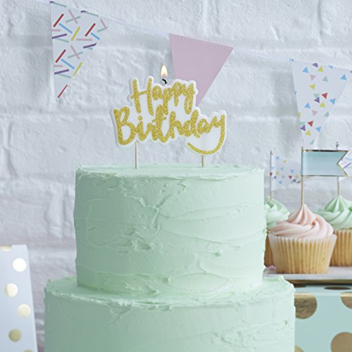 Ginger Ray PM-941 Pick and Mix Sparkling Designer Happy Birthday Candle Topper, Gold