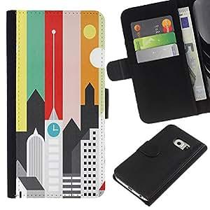 All Phone Most Case / Oferta Especial Cáscara Funda de cuero Monedero Cubierta de proteccion Caso / Wallet Case for Samsung Galaxy S6 EDGE // Artistic Minimalist Architecture Colors