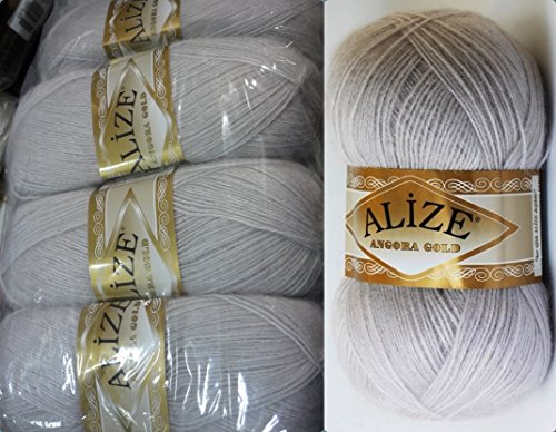 Mohair Wool Yarn Alize Angora Gold Thread Crochet Hand Knitting Turkish Yarn Lot of 4skn 400gr 2404yds Color 168 Winter White - Gold Mohair Yarn