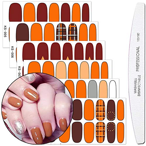 WOKOTO 6 Pieces Lattice Nail Wraps Polish Sticker Tips With 1Pcs Nail File Solid Color Adhesive Nail Art Decal Strips Manicure Accessories