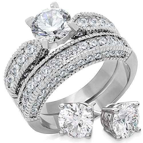 Bellux Style Women's Wedding Engagement Rings Stainless Steel CZ Anniversary Promise Ring Band Bridal Set for Her Sterling Silver Earrings (Size 8)