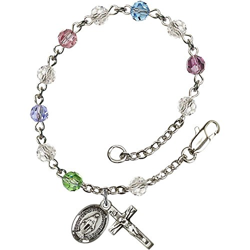 (Bonyak Jewelry Sterling Silver Rosary Bracelet 5mm Multi-Color Swarovski beads Crucifix sz 5/8 x 1/4.)