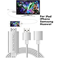 Lightning to HDMI Cable for iPhone iPad & Samsung Smartphones, Boscheng Plug and Play Lightning & MHL to HDMI Adapter HDTV Adapter Cable for Screen Mirroring on HDTV Projector