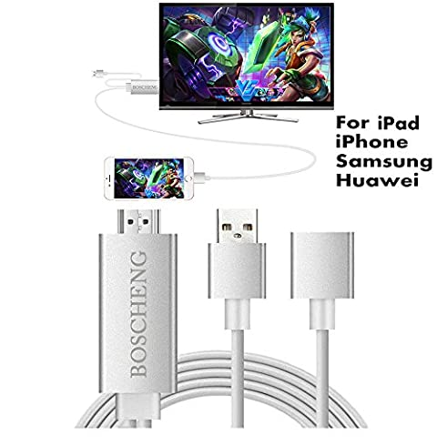 Lightning to HDMI Cable for iPhone iPad & Samsung Smartphones, Boscheng Plug and Play Lightning & MHL to HDMI Adapter HDTV Adapter Cable for Screen Mirroring on HDTV (Samsung Note 3 To Tv Adapter)
