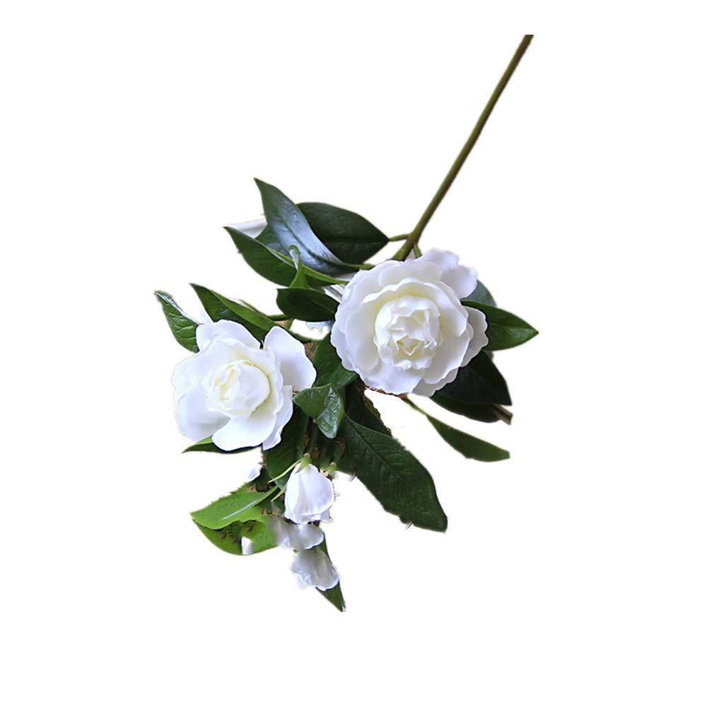 KMCMYBANG-Artificial-Plant-Gardenia-Flowers-Artificial-Silk-Bouquets-for-Office-Home-Wedding-Parties-DecorWhiteYellow-Fake-Mini-Potted-Grass-Color-White-Size-One-Size
