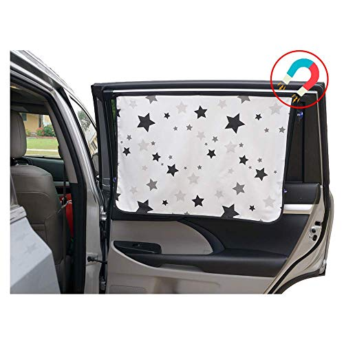 ggomaART Car Side Window Sun Shade - Universal Reversible Magnetic Curtain for Baby and Kids with Sun Protection Block Damage from Direct Bright Sunlight, Heat, and UV Rays - 1 Piece of Black Stars