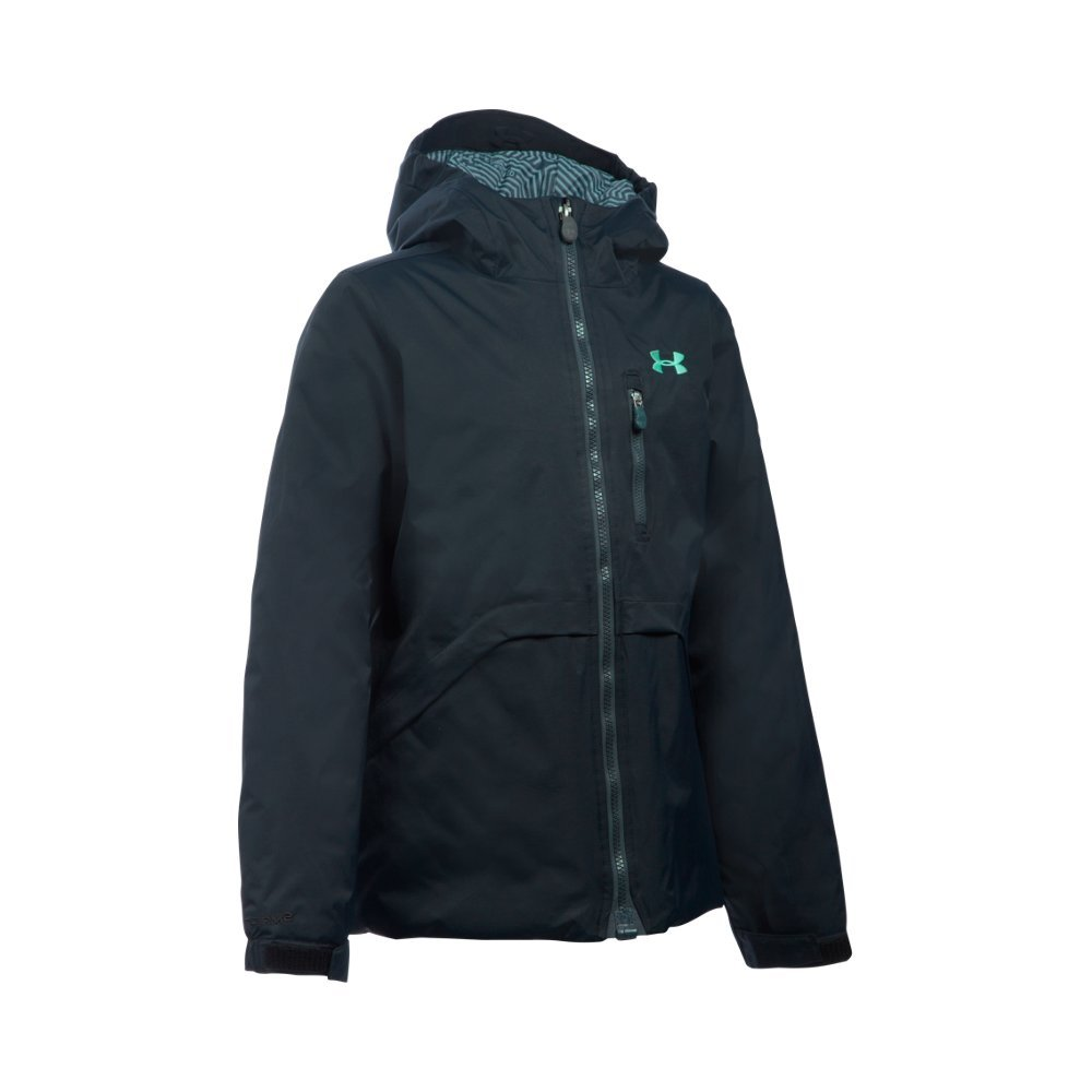 Under Armour Girl's ColdGear Reactor Yonders Jacket, Black/Stealth Gray, Youth Medium