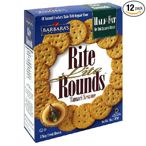 Barbara's Bakery Rite Lite Rounds, Tamari Sesame Crackers, 11-Ounce Boxes (Pack of 12)