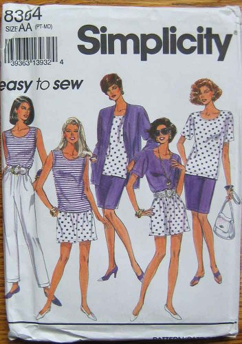 Simplicity 8364 Sewing Pattern, Misses' Easy To Sew Pants, Shorts, Skirt, Top, Jacket, Sizes PT, Small, Medium (6-16)