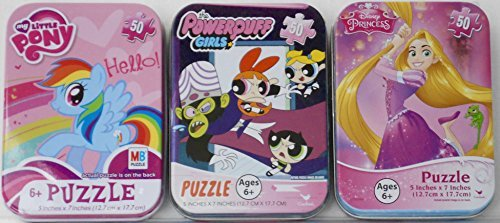 (3 Puzzles in Mini Travel Tins The Powerpuff Girls, Disney Princess Tangled Rapunzel, My Little Pony - 50 Pieces per Puzzle Collectible)