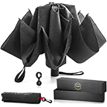 Upside Down Reversible Umbrella - Automatic Open and Close - with Waterproof Canopy & Inverted Ribs that Folds Backwards - Nice Size for Travel
