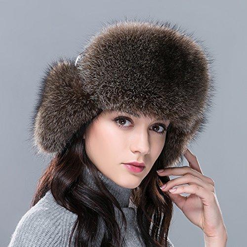 URSFUR femme chapka russe en vrai fourrure et bonnet chapeau cuir chaud hiver Brun L:58-60CM