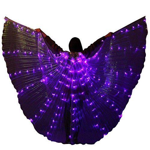 LED ISIS Wings for Belly Dance Party Club Light up Show Performance Clothing Carnival Halloween (Purple) ()