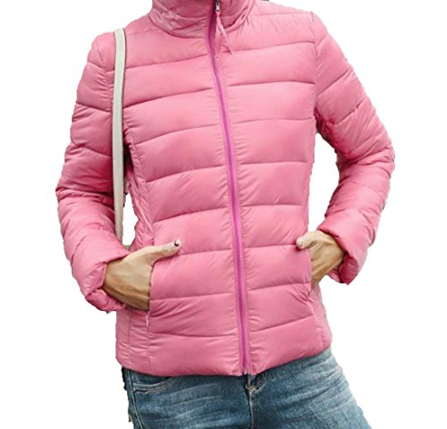 Jacket Solid Pink Zipper Coats Pocket EKU Collar M Stand Women's Down Fq8wB8