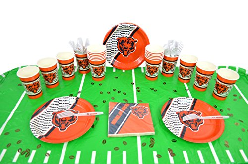 Duck House Official National Football Fan Shop Authentic NFL Tailgate Party Kit Bundle for 20 Fans - Table Setting and More (Chicago Bears)