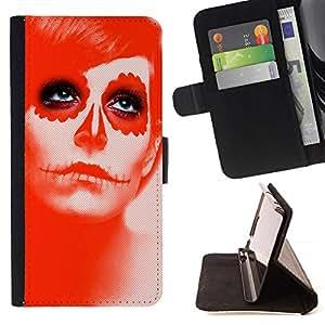GIFT CHOICE / Billetera de cuero Estuche protector Cáscara Funda Caja de la carpeta Cubierta Caso / Wallet Case for Apple Iphone 5C // Red Sugar Skull Girl //