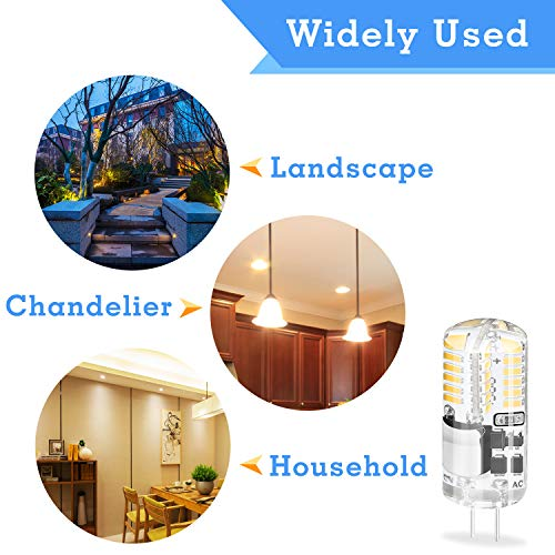 DiCUNO G4 3W Bi-pin LED Bulb, 30W T3 Halogen Bulb Equivalent, AC/DC 12V Warm White 3000K, Non-dimmable LED Light Bulb for Home Landscape of 10 Pcs