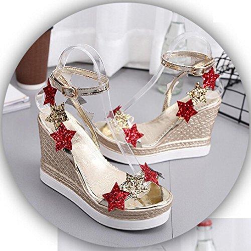 mit mund sommer schuhe damen wuayi high sandalen frauen für gold fisch heels keile böhmen römische fPxqxTYg