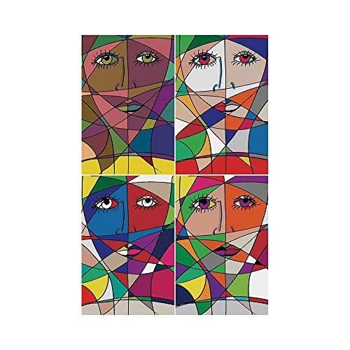 - Polyester Garden Flag Outdoor Flag House Flag Banner,Abstract Home Decor,Abstract Woman Face Illustration Behind Stained Glass Human Facial Feature,,for Wedding Anniversary Home Outdoor Garden Decor