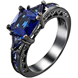 XAHH Women Black Gold Plated Square Triangle Blue Sapphire Cubic Zirconia CZ Hollow Crystal Vintage Ring