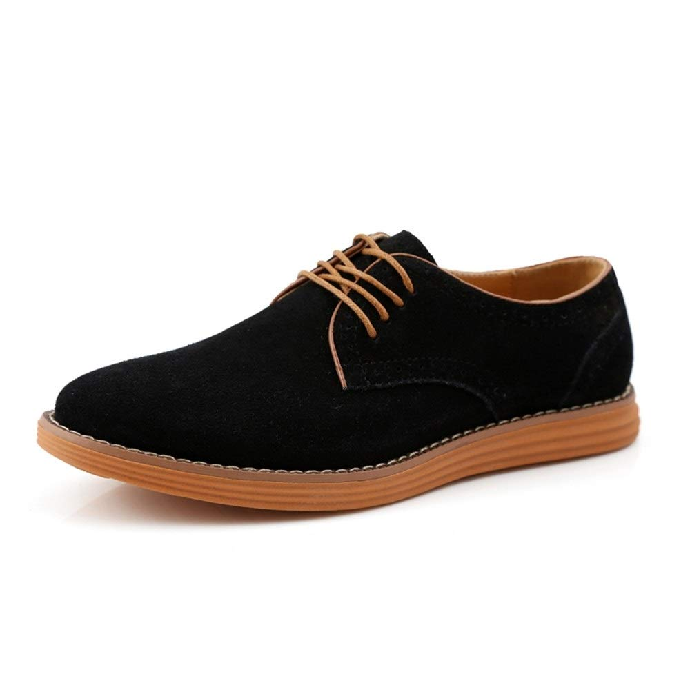 Hilotu Men's Work Shoes Lace Up Suede Business Dress Dating Driving Loafers Leather Anti Slip Flat Casual Round Toe Oxfords (Color : Black, Size : 8.5 M US) by Hilotu