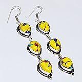 19.3Gram Yellow Mosaic Jasper 11x14mm 925 silver Plated Earring Silverart Jewelry