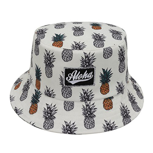 Hatphile Men's Trendy Bucket Hat Large Pineapple Hawaii Aloha White,