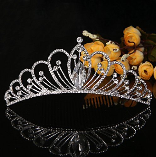 Dairyshop Stunning Wedding Bride Rhinestone Hair Clip Comb Glitter Headband Diamante Prom Crown