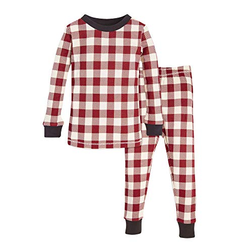 Burt's Bees Baby Baby Toddler & Kids Pajamas, Tee and Pant 2-Piece PJ Set, 100% Organic Cotton, Red Buffalo Check, -