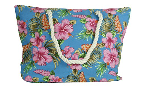 Mysocks® Fun Bright Colorful Beach Bag With Floral Turquoise Floral Designs