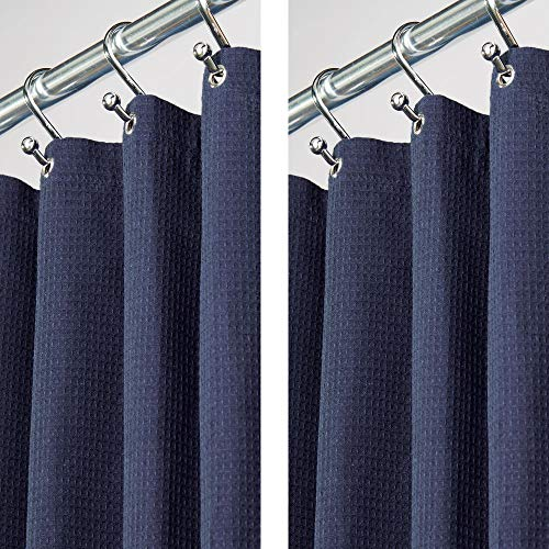 mDesign - 2 Pack - Extra Long Hotel Quality Polyester/Cotton Blend Fabric Shower Curtain, Rustproof Metal Grommets - Waffle Weave for Bathroom Showers and Bathtubs - 72