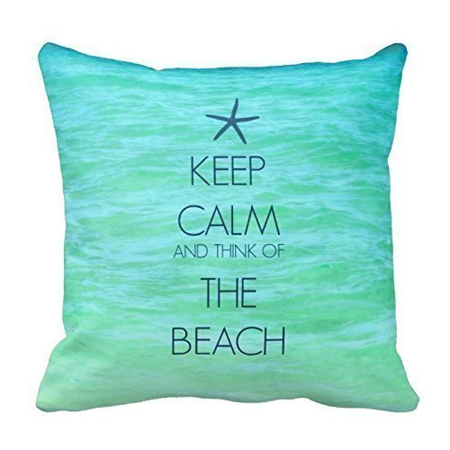Keep Calm on Clear Turquoise Sea Water Pillow Decorative Throw Pillowcase Cushion Cover Square Cushion Cover for Home or Sofa 18 x 18 Inch One Side