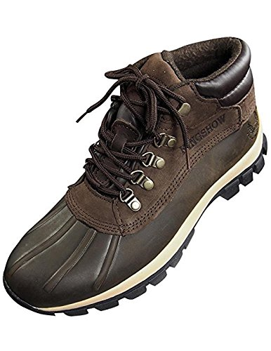 KINGSHOW Men Warm Waterproof Winter Snow Leather Boots Size:9.5 Color:Brown (Sole Rubber Boots)
