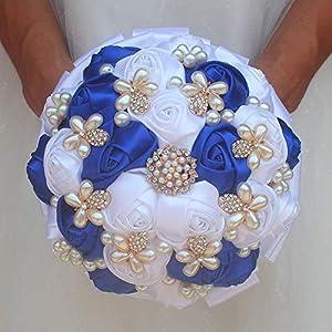 MARJON Flowers Wedding Bouquet Set,Bridal Bouquet,Wedding Wrist Corsage,Groomsmen Boutonniere Party Prom Decor (White+Royal Blue Set) 79