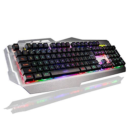 Shuihua-yxjp Gaming Keyboard Computer Wired Mute Imitation Mechanical Desktop Notebook, E-Sports Internet Cafe Dedicated External Lighting Colorful USB Backlight Mechanical Keyboard -