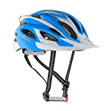 LEADTRY HM-3 Bike Helmet Ultralight Integrally Molded EPS Bicycle Helmet Safety Helmet Specialized for Road/Mountain Terrain Bicycle with Comfortable Removable Washable Antibacterial Pads White+Blue