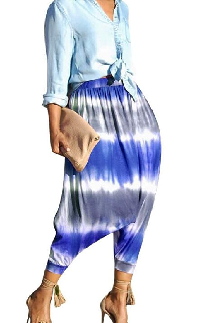 Domple Women Baggy Tie-Dyed Wide Leg Party Casual High Waist Harem Pants