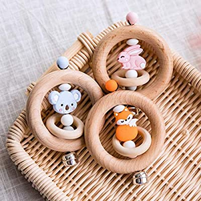 Sensory Activity Teether Rattle Toy Natural Wooden Baby Teething Ring Fox Shape Silicone Beads Chewable DIY Teething Accessories Montessori Toy for Toddlers & Infant: Toys & Games