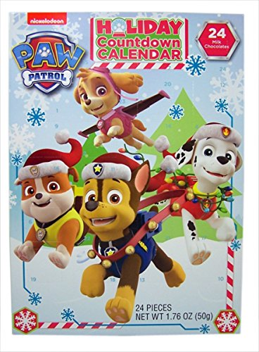 2017 Christmas Advent Holiday Countdown Calendar with 24 Milk Chocolates (Nickelodeon PAW Patrol) - Paws Milk Chocolate