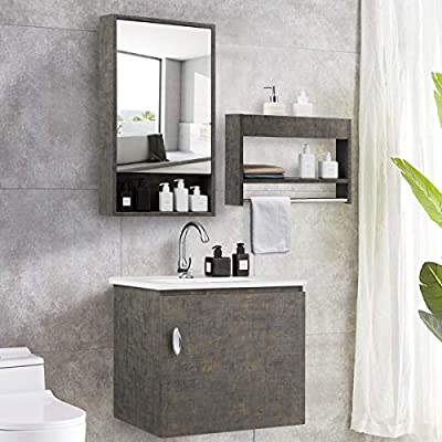 Tangkula Wall-Mounted Bathroom Vanity Set, Modern Bathroom Vanity Sink Set, Storage Cabinet Combinations with Mirror Door, Mirror Cabinet & Side Storage Rack & Main Cabinet