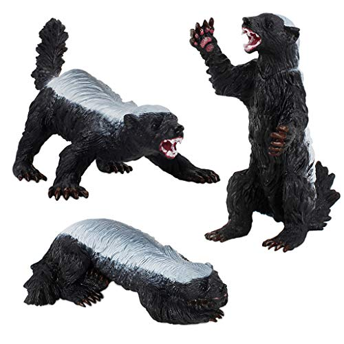 SM SunniMix 3pcs Realistic Honey Badger Figurines Wildlife Animal Model for DIY Projects, Model Train Scenery Diorama Supplies