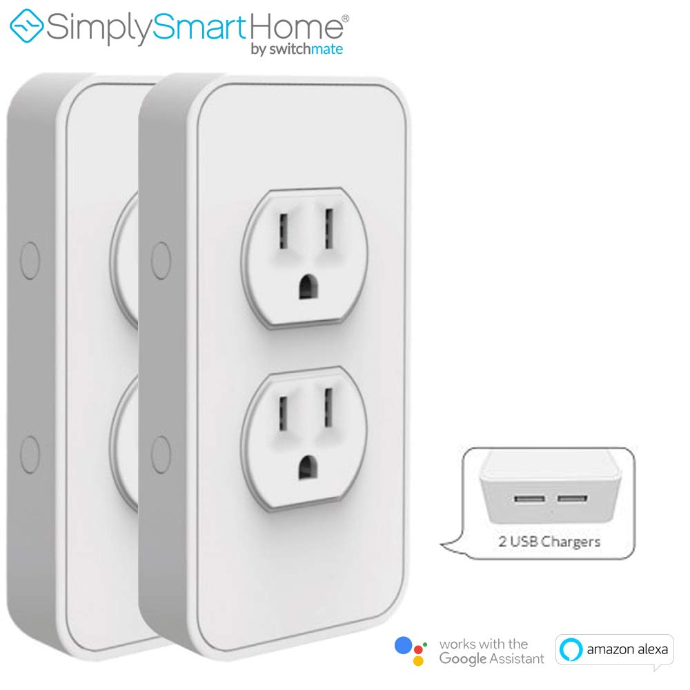 SimplySmartHome 2-Pack Snap-on Smart Power Outlet with Voice Controls - (Renewed)