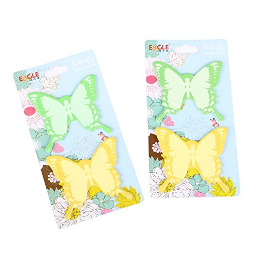 (Eagle Butterfly Shaped Sticky Notes, 2.75 X 2.5-Inch, 2 Colors, 2-Pack, 100 Sheets, Holiday Gift)